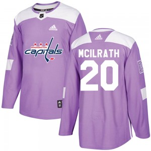 Washington Capitals Dylan McIlrath Official Purple Adidas Authentic Youth Fights Cancer Practice NHL Hockey Jersey