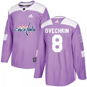 Washington Capitals Alexander Ovechkin Official Purple Adidas Authentic Youth Fights Cancer Practice NHL Hockey Jersey