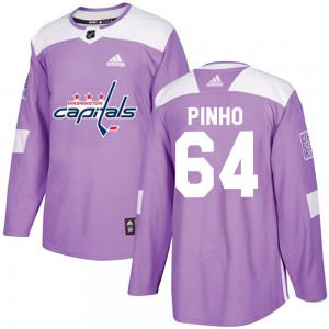 Washington Capitals Brian Pinho Official Purple Adidas Authentic Youth ized Fights Cancer Practice NHL Hockey Jersey