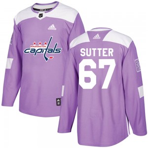 Washington Capitals Riley Sutter Official Purple Adidas Authentic Youth Fights Cancer Practice NHL Hockey Jersey