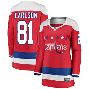 Washington Capitals Adam Carlson Official Red Fanatics Branded Breakaway Women's Alternate NHL Hockey Jersey