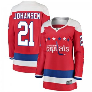 Washington Capitals Lucas Johansen Official Red Fanatics Branded Breakaway Women's Alternate NHL Hockey Jersey