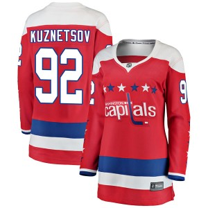 Washington Capitals Evgeny Kuznetsov Official Red Fanatics Branded Breakaway Women's Alternate NHL Hockey Jersey