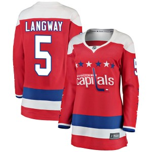 Washington Capitals Rod Langway Official Red Fanatics Branded Breakaway Women's Alternate NHL Hockey Jersey