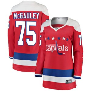 Washington Capitals Tim McGauley Official Red Fanatics Branded Breakaway Women's Alternate NHL Hockey Jersey
