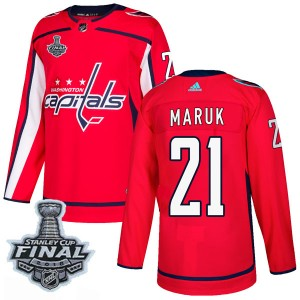 Washington Capitals Dennis Maruk Official Red Adidas Authentic Adult Home 2018 Stanley Cup Final Patch NHL Hockey Jersey