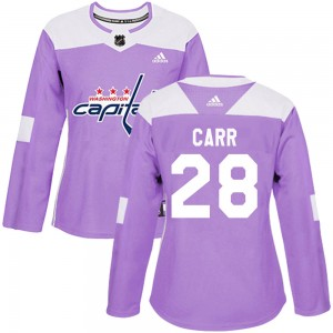 Washington Capitals Daniel Carr Official Purple Adidas Authentic Women's Fights Cancer Practice NHL Hockey Jersey