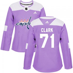 Washington Capitals Kody Clark Official Purple Adidas Authentic Women's Fights Cancer Practice NHL Hockey Jersey