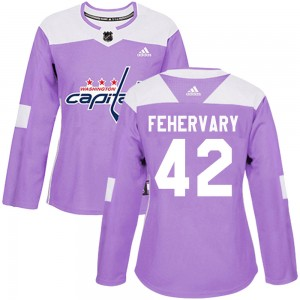 Washington Capitals Martin Fehervary Official Purple Adidas Authentic Women's Fights Cancer Practice NHL Hockey Jersey