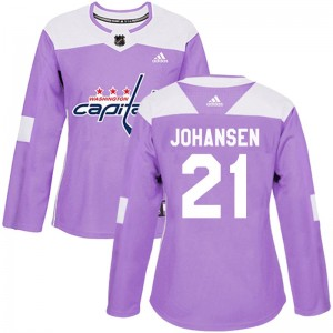 Washington Capitals Lucas Johansen Official Purple Adidas Authentic Women's Fights Cancer Practice NHL Hockey Jersey