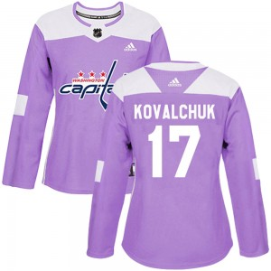 Washington Capitals Ilya Kovalchuk Official Purple Adidas Authentic Women's ized Fights Cancer Practice NHL Hockey Jersey