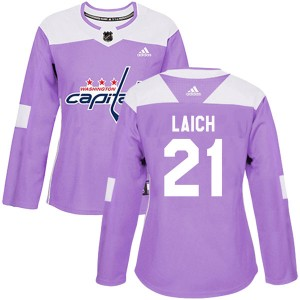 Washington Capitals Brooks Laich Official Purple Adidas Authentic Women's Fights Cancer Practice NHL Hockey Jersey