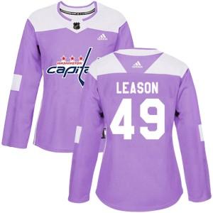 Washington Capitals Brett Leason Official Purple Adidas Authentic Women's Fights Cancer Practice NHL Hockey Jersey