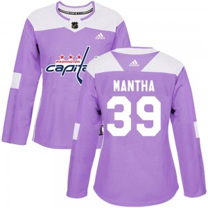 Washington Capitals Anthony Mantha Official Purple Adidas Authentic Women's Fights Cancer Practice NHL Hockey Jersey