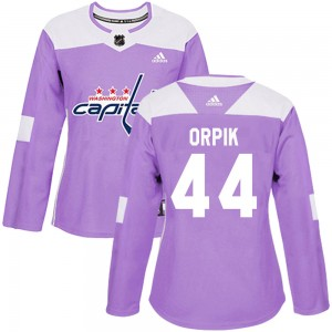 Washington Capitals Brooks Orpik Official Purple Adidas Authentic Women's Fights Cancer Practice NHL Hockey Jersey