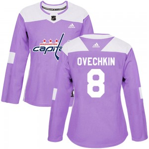 Washington Capitals Alexander Ovechkin Official Purple Adidas Authentic Women's Fights Cancer Practice NHL Hockey Jersey
