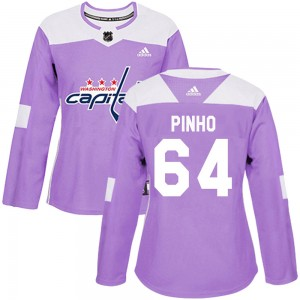 Washington Capitals Brian Pinho Official Purple Adidas Authentic Women's ized Fights Cancer Practice NHL Hockey Jersey