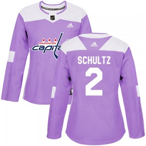 Washington Capitals Justin Schultz Official Purple Adidas Authentic Women's Fights Cancer Practice NHL Hockey Jersey