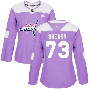 Washington Capitals Conor Sheary Official Purple Adidas Authentic Women's Fights Cancer Practice NHL Hockey Jersey