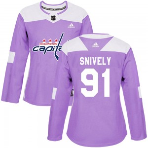 Washington Capitals Joe Snively Official Purple Adidas Authentic Women's Fights Cancer Practice NHL Hockey Jersey