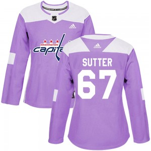 Washington Capitals Riley Sutter Official Purple Adidas Authentic Women's Fights Cancer Practice NHL Hockey Jersey