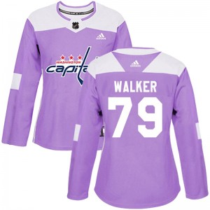 Washington Capitals Nathan Walker Official Purple Adidas Authentic Women's Fights Cancer Practice NHL Hockey Jersey
