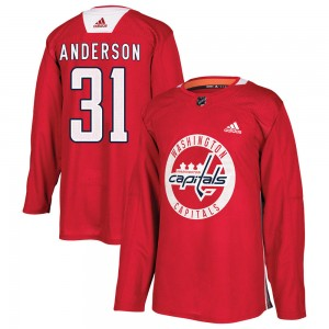 Washington Capitals Craig Anderson Official Red Adidas Authentic Youth Practice NHL Hockey Jersey