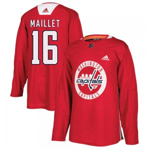 Washington Capitals Philippe Maillet Official Red Adidas Authentic Youth ized Practice NHL Hockey Jersey