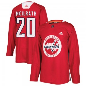 Washington Capitals Dylan McIlrath Official Red Adidas Authentic Youth Practice NHL Hockey Jersey