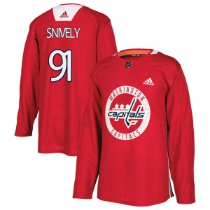 Washington Capitals Joe Snively Official Red Adidas Authentic Youth Practice NHL Hockey Jersey