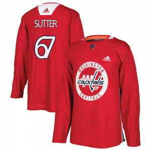 Washington Capitals Riley Sutter Official Red Adidas Authentic Youth Practice NHL Hockey Jersey