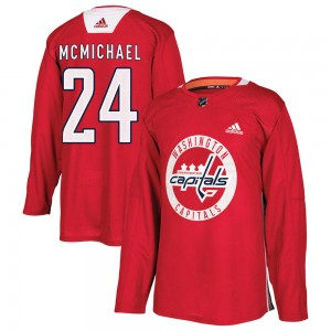Washington Capitals Connor McMichael Official Red Adidas Authentic Adult Practice NHL Hockey Jersey