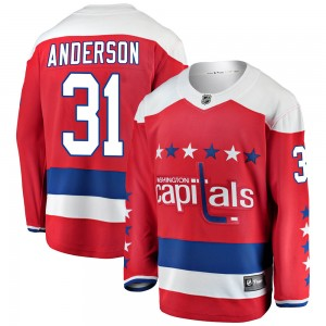 Washington Capitals Craig Anderson Official Red Fanatics Branded Breakaway Youth Alternate NHL Hockey Jersey