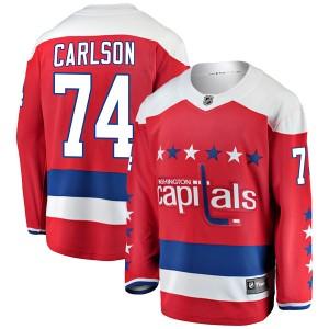 Washington Capitals John Carlson Official Red Fanatics Branded Breakaway Youth Alternate NHL Hockey Jersey