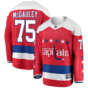 Washington Capitals Tim McGauley Official Red Fanatics Branded Breakaway Youth Alternate NHL Hockey Jersey