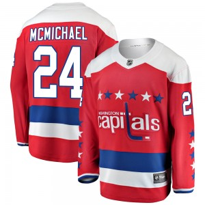 Washington Capitals Connor McMichael Official Red Fanatics Branded Breakaway Youth Alternate NHL Hockey Jersey