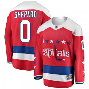 Washington Capitals Hunter Shepard Official Red Fanatics Branded Breakaway Youth Alternate NHL Hockey Jersey