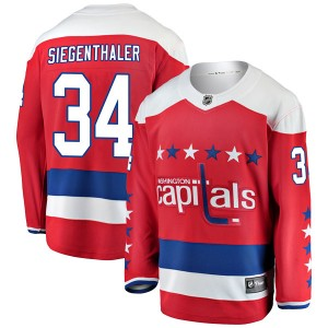 Washington Capitals Jonas Siegenthaler Official Red Fanatics Branded Breakaway Youth Alternate NHL Hockey Jersey