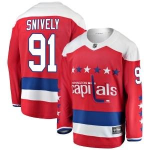 Washington Capitals Joe Snively Official Red Fanatics Branded Breakaway Youth Alternate NHL Hockey Jersey