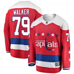 Washington Capitals Nathan Walker Official Red Fanatics Branded Breakaway Youth Alternate NHL Hockey Jersey