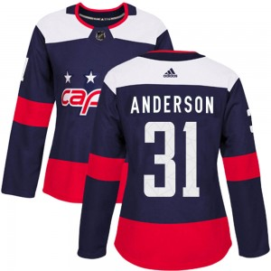 Washington Capitals Craig Anderson Official Navy Blue Adidas Authentic Women's 2018 Stadium Series NHL Hockey Jersey