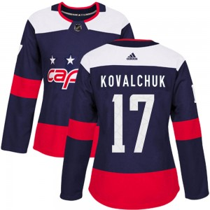 Washington Capitals Ilya Kovalchuk Official Navy Blue Adidas Authentic Women's ized 2018 Stadium Series NHL Hockey Jersey