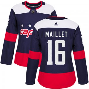 Washington Capitals Philippe Maillet Official Navy Blue Adidas Authentic Women's ized 2018 Stadium Series NHL Hockey Jersey