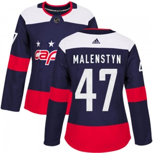 Washington Capitals Beck Malenstyn Official Navy Blue Adidas Authentic Women's ized 2018 Stadium Series NHL Hockey Jersey
