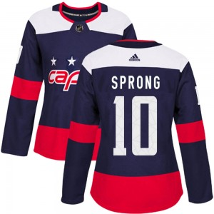 Washington Capitals Daniel Sprong Official Navy Blue Adidas Authentic Women's ized 2018 Stadium Series NHL Hockey Jersey