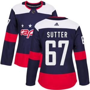 Washington Capitals Riley Sutter Official Navy Blue Adidas Authentic Women's 2018 Stadium Series NHL Hockey Jersey