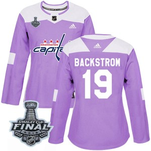 Washington Capitals Nicklas Backstrom Official Purple Adidas Authentic Women's Fights Cancer Practice 2018 Stanley Cup Final Pat