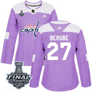 Washington Capitals Craig Berube Official Purple Adidas Authentic Women's Fights Cancer Practice 2018 Stanley Cup Final Patch NH