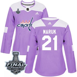 Washington Capitals Dennis Maruk Official Purple Adidas Authentic Women's Fights Cancer Practice 2018 Stanley Cup Final Patch NH