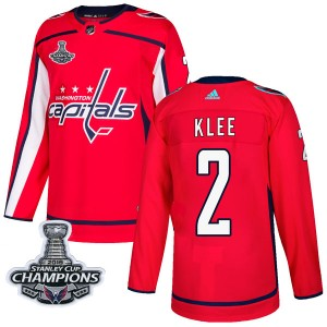 Washington Capitals Ken Klee Official Red Adidas Authentic Youth Home 2018 Stanley Cup Champions Patch NHL Hockey Jersey